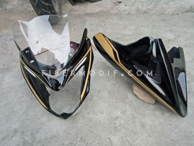 Cover Mesin Universal + Cover Headlamp Old CB150R Alis LED Gold Coffee