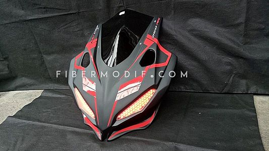 Cover Lampu CBR150R 2016 Alis LED Black Red Doff