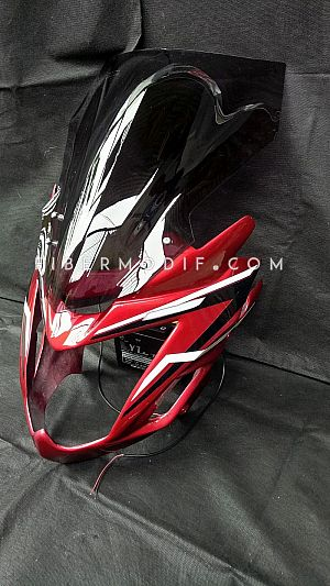 Topeng Verza Visor Panjang Alis LED Red Gloss Black-White Lis