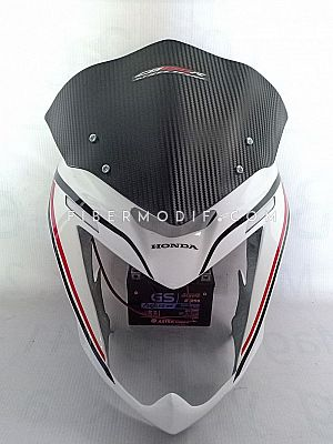 Cover Headlamp LED Old CB150R Carbon Visor - White Gloss Red Black Striped
