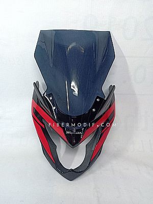 Cover Headlamp Verza 150 Touring Edition - Visor Panjang - Black Red Striped Gloss