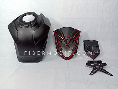 Cover Tangki model CBR250RR + Topeng + Undertail untuk All New CB150R Black Matte Red Striped