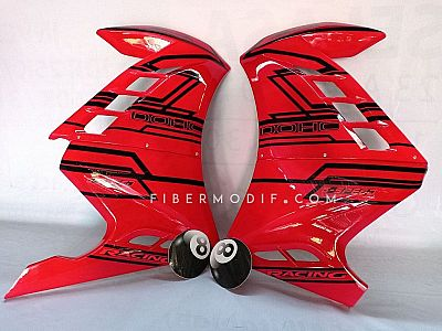 Fairing CB150R Facelift model Ninja FI The 8 Ball - Red Gloss Black Techno Strip