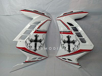 Half Fairing All New CB150R - White Red Striped Holy Cross