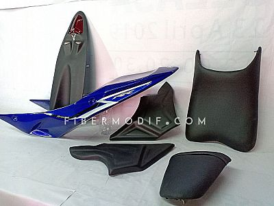 Body Belakang Custom Set untuk Byson - Deep Blue Gloss n Black White Strip RR