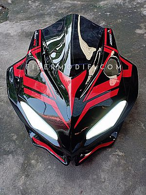 Cover Headlamp model CBR250RR untuk CBR150 K45G - Black Glossy Extraordinary Red Striped