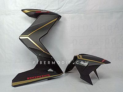 Half Fairing model Z + Spakbor model H2 untuk CB150R Facelift - Black Matte Gold Striped