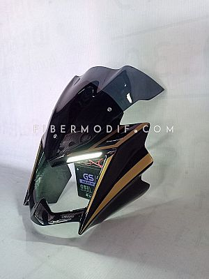 Cover Headlamp Vixion Lightning LED - Black Gloss Gold Striped