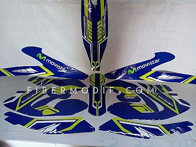 Decal All New Vixion R - Blue Movistar Yellow Striped