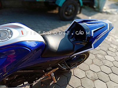 [Terpasang] Body Belakang Set All New Vixion - Deep Blue Gloss White Striped