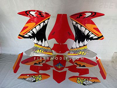 Cutting Sticker - Decal Vixion Advance Lightning - Red Angry Shark 46