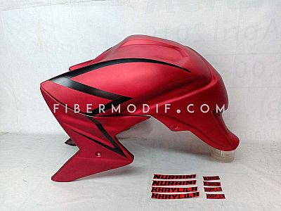 Cover Tangki Verza 150 model CB1000 - Red Matte Simple Strip Nuraini Khaylia