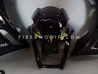 Fairing model Z + Cover Headlamp LED All New Vixion - Black Glossy Gold-Silver Striped