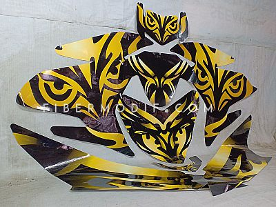 Sticker Decal Cutting Yamaha Jupiter MX King - Abstract Gold Owl-Eyes Art