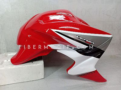 Cover Tangki Verza 150 model CB1000 - Red Gloss Black-White Strip